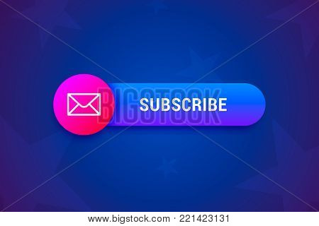 Subscribe button, banner with envelope icon in modern gradient style. Vector illustration.