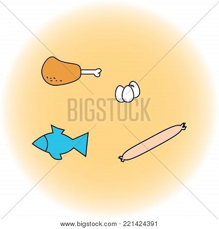 Set of food ham, sausage, eggs, fish. Illustration in the style of children s drawing. Vector graphics.