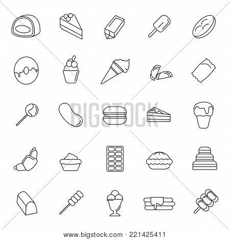 Sweet dessert and bakery line icons set isolated on white background. Vector illustration with cake, sweet and ice cream in line style.