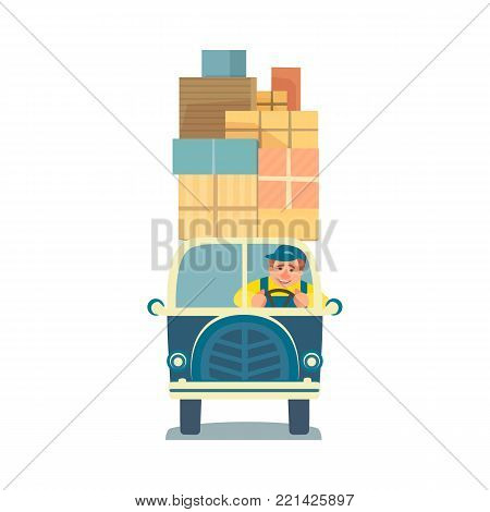 Moving box. Delivery service icon. Package cardboard boxes for relocation to change home. Mover driver in van transport cargo to new house. Carry containers with domestic objects. Vector illustration.