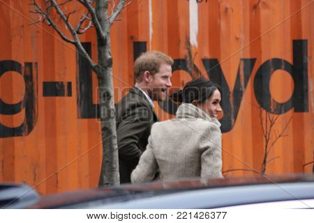 London, UK. 9th January, 2018. Prince Harry and Meghan Markle visit Reprezent radio at POP Brixton to see work being done to combat knife crime in London.