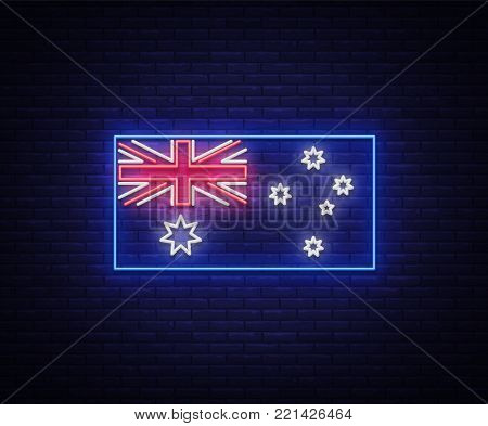 Flag of Australia is a neon sign. Vector Illustrations, Neon Banner, Luminous Billboard, Bright Night Advertising. Element symbol for the day of Australia.