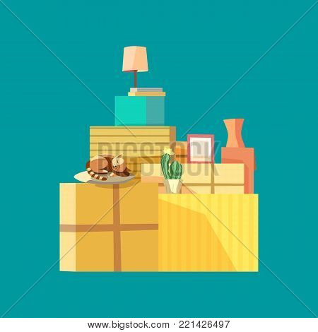 Home change concept. Package to move to new house, moving cardboard boxes and domestic objects. Relocation to apartment, paper container delivery packing. Comic fancy flat cartoon. Vector illustration
