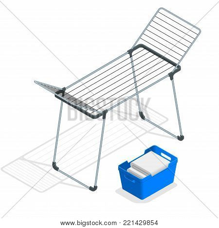 Isometric Empty Cloth Drying Rack and Laundry Basket vector isolated on white