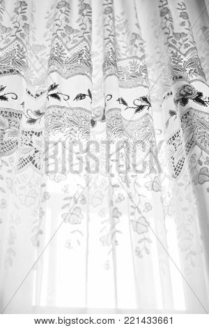 White curtains in room, day light, crop