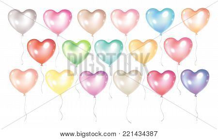 Festive and colorful balloons isolated on white background. Romantic balloons in heart shape for Valentines day flayers, greeting cards, birthday invitations etc