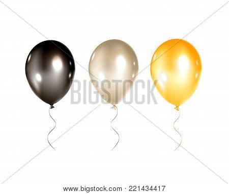 Festive gold, black and silver balloons isolated on white background. Bright balloons for holidays flayers, greeting cards, birthday invitations and other decorations.