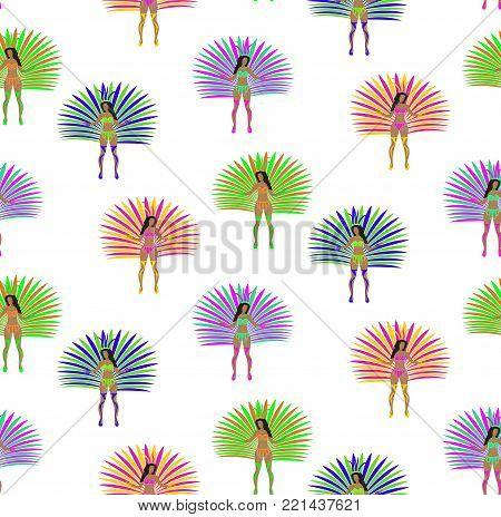 Girls in carnival costume seamless pattern. Brazilian samba dancer endless background. Rio de Janeiro women dancing repeating texture. Vector illustration