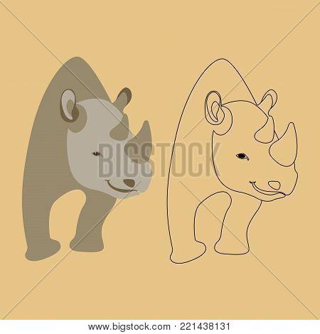 rhino  vector illustration flat style  profile side set