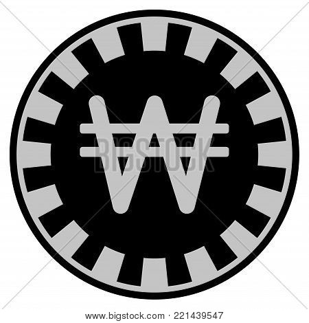 Korean Won black casino chip pictograph. Vector style is a flat gamble token symbol designed with black and light-gray colors.