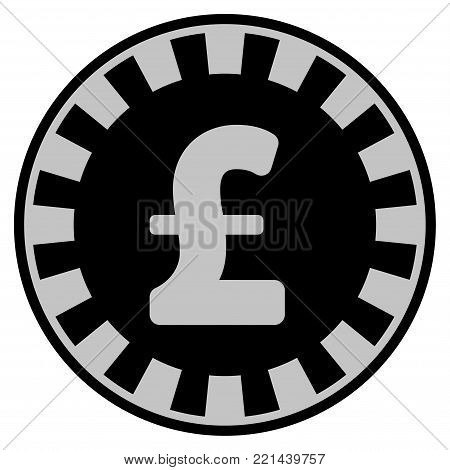 Pound Sterling black casino chip icon. Vector style is a flat gambling token item designed with black and light-gray colors.