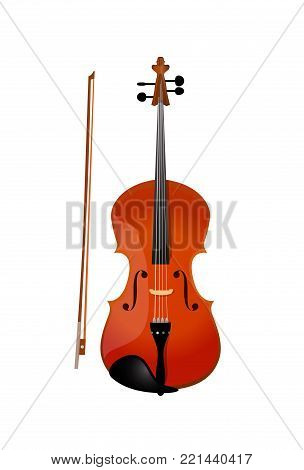 Red violin isolated isolated on white, Vector Illustration