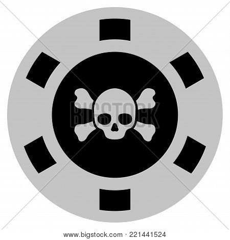 Skull Crossbones black casino chip pictograph. Vector style is a flat gamble token symbol designed with black and light-gray colors.