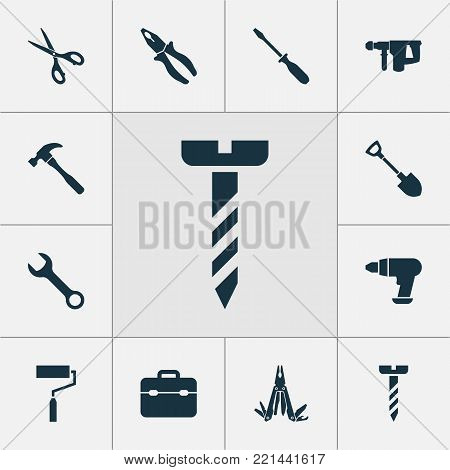 Repair icons set with repair, digging, paint and other screw elements. Isolated  illustration repair icons.