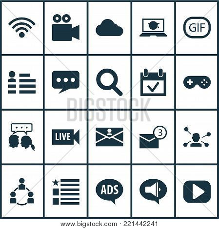 Social icons set with play, gif sticker, wireless connection and other wireless connection elements. Isolated  illustration social icons.