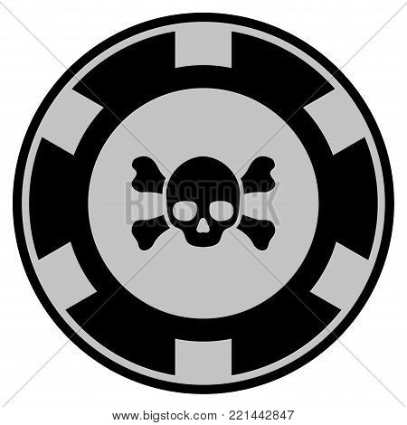 Skull Crossbones black casino chip icon. Vector style is a flat gamble token symbol designed with black and light-gray colors.