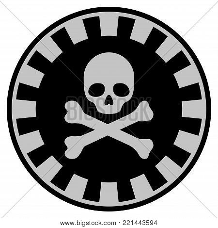 Crossbones Skull black casino chip pictogram. Vector style is a flat gamble token symbol designed with black and light-gray colors.