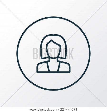 Businesswoman icon line symbol. Premium quality isolated business element in trendy style.