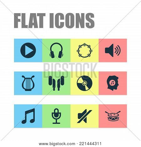 Multimedia icons set with earphone, music, lyre and other silence elements. Isolated  illustration multimedia icons.