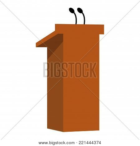 Wooden lectern isolated on white background, Vector illustration