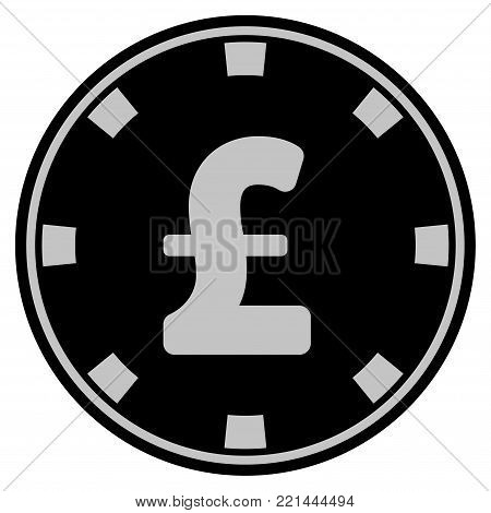 Pound Sterling black casino chip pictogram. Vector style is a flat gambling token symbol designed with black and light-gray colors.