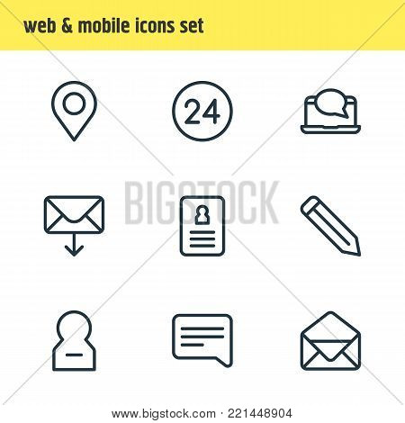 Vector illustration of 9 connect icons line style. Editable set of correspondence, pencil, resume and other elements.