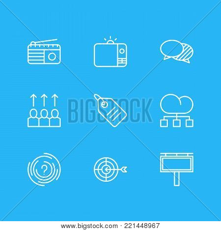 Vector illustration of 9 marketing icons line style. Editable set of radio, aim, price tag and other elements.