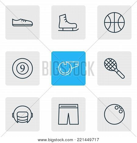 Vector illustration of 9 athletic icons line style. Editable set of ice boot, kegling, hoop and other elements.