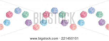Vector Wave of Pastel Colorful Birthday Party Paper Pom Poms Set Horizontal Seamless Repeat Border Pattern. Great for handmade cards, invitations, wallpaper, packaging, nursery designs. Party decor.
