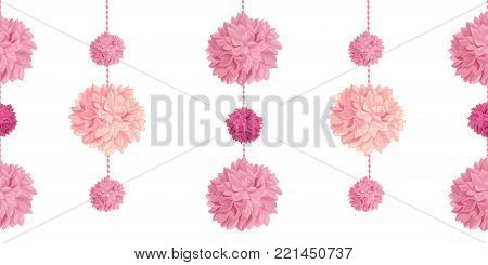 Vector Pink Birthday Party Paper Pom Poms Set Horizontal Seamless Repeat Border Pattern. Great for handmade cards, invitations, wallpaper, packaging, nursery designs. Party decor.