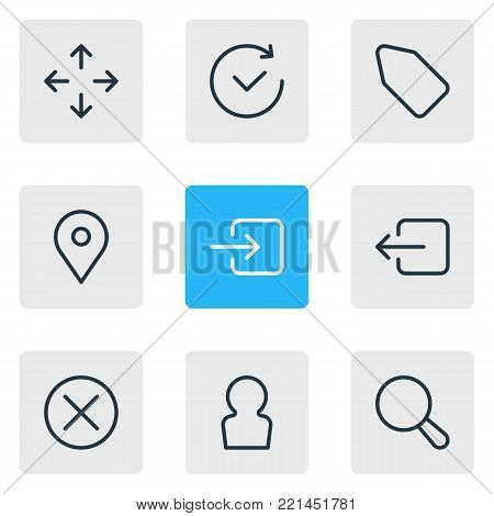 illustration of 9 annex icons line style. Editable set of label, direction, user and other elements.