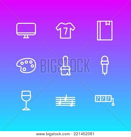 illustration of 9 lifestyle icons line style. Editable set of brush, mic, bookmark and other elements.