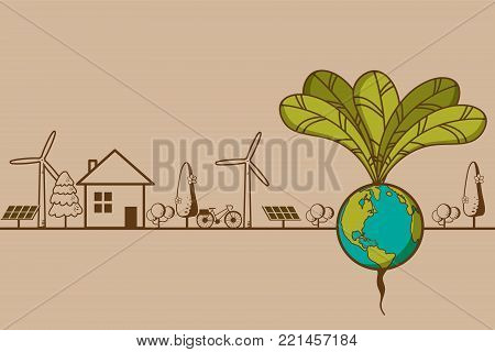 green earth- ecology concept green information with ecology and green city of energy saving or clean energy with green collection.Ecology info collection,Charts,Symbols,Graphic elements.