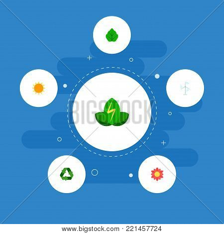 Icons flat style energy windmill, recycle, green power and other vector elements. Set of nature icons flat style symbols also includes power, flower, eco objects.