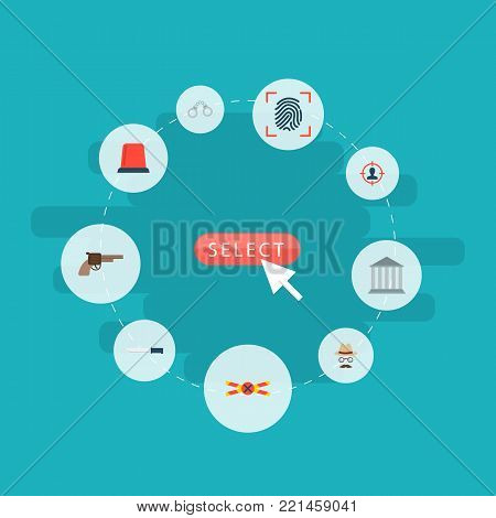 Set of criminal icons flat style symbols with flasher siren, crime scene, gun and other icons for your web mobile app logo design.