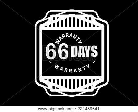 66 days warranty icon vintage rubber stamp guarantee