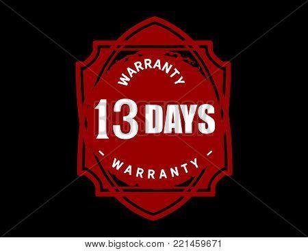 13 days warranty icon vintage rubber stamp guarantee