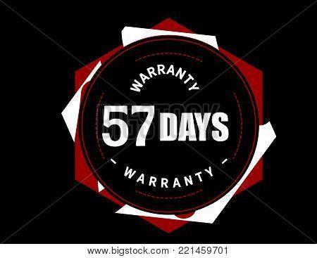 57 days warranty icon vintage rubber stamp guarantee
