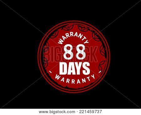 88 days warranty icon vintage rubber stamp guarantee