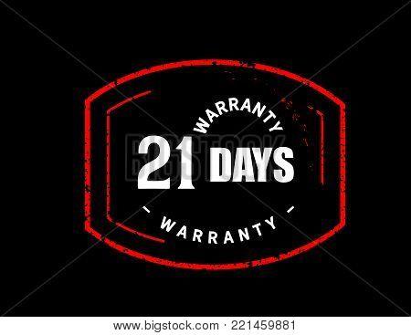 21 days warranty icon vintage rubber stamp guarantee