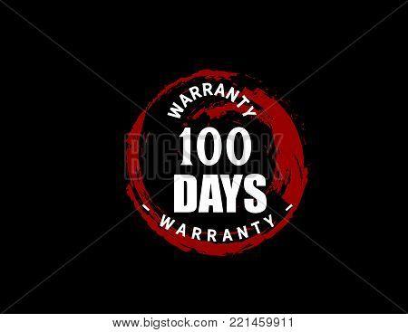 100 days warranty icon vintage rubber stamp guarantee