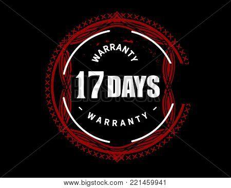 17 days warranty icon vintage rubber stamp guarantee