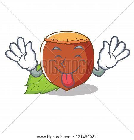 Tongue out hazelnut mascot cartoon style vector illustration