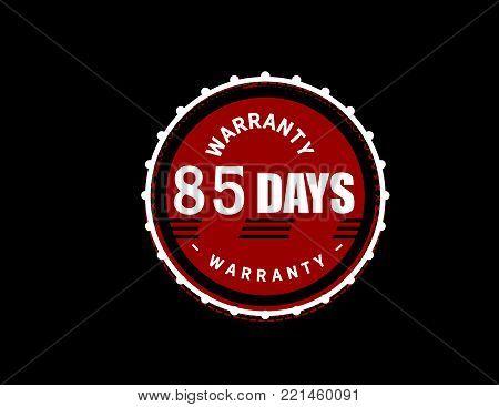 85 days warranty icon vintage rubber stamp guarantee