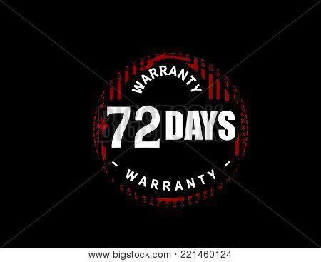 72 days warranty icon vintage rubber stamp guarantee