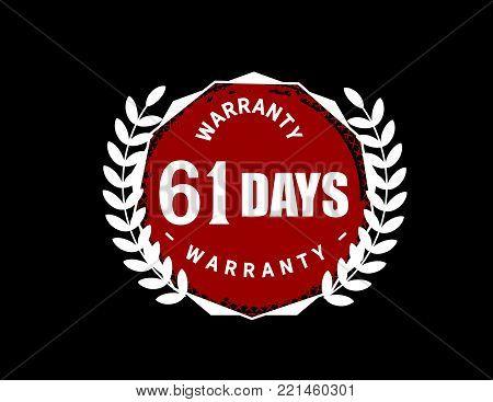 61 days warranty icon vintage rubber stamp guarantee