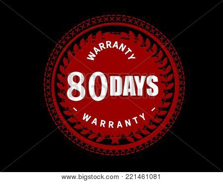 80 days warranty icon vintage rubber stamp guarantee