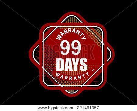 99 days warranty icon vintage rubber stamp guarantee