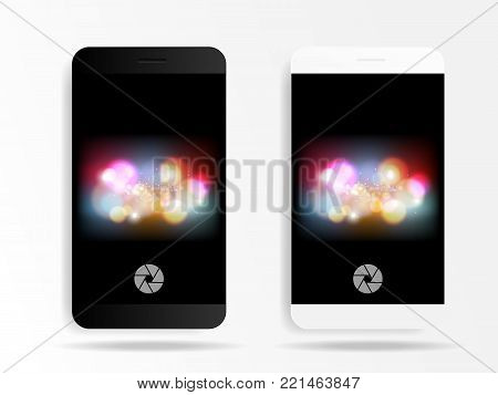illustration of smartphone in camera mode application with bokeh background vector