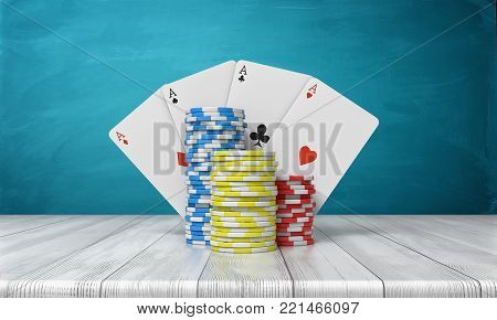 3d rendering of a three stacks of casino chips with four ace cards behind them stand on a wooden table on a blue background. Casino games. Stakes and bids. Poker night.
